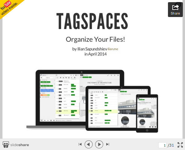 This is an official presentation with thirty slides that introduces TagSpaces application.