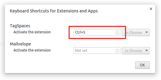 setting ctrl+s as keyboard shortcut for the web clipper