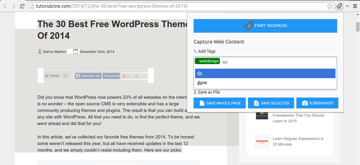 New features and improvements in TagSpaces version 1.10 featuring redesigned search and web clipping.