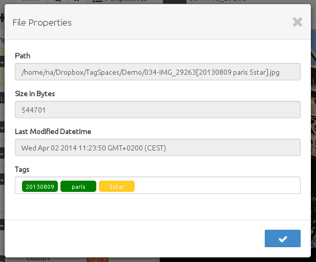 showing tags in file properties