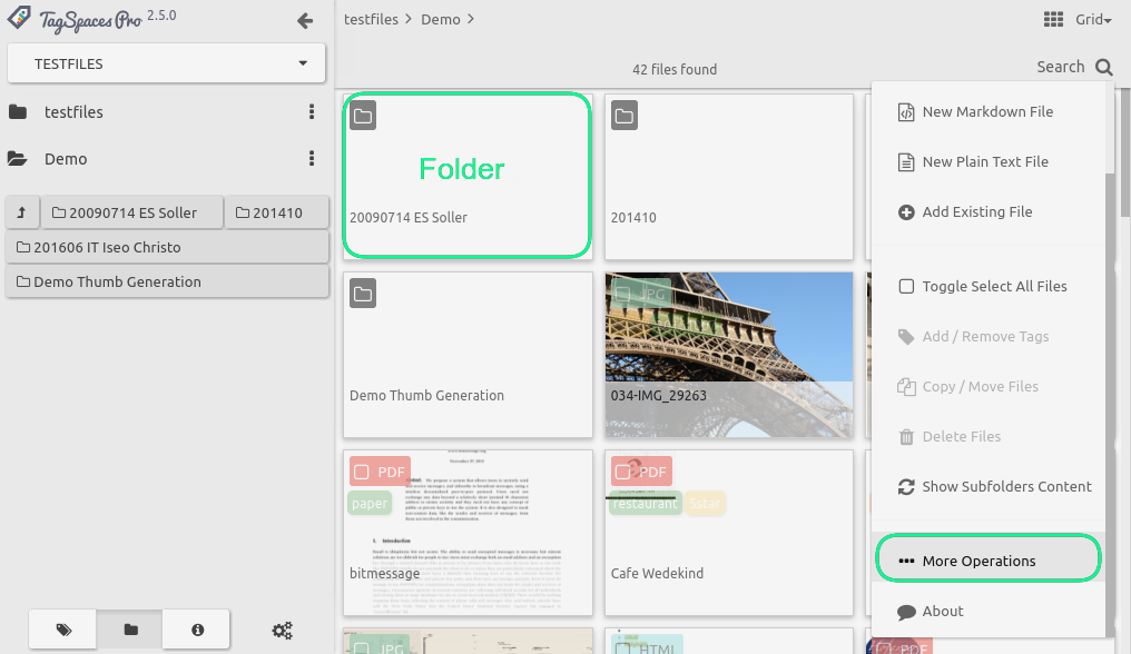 subfolder support in the grid perspective