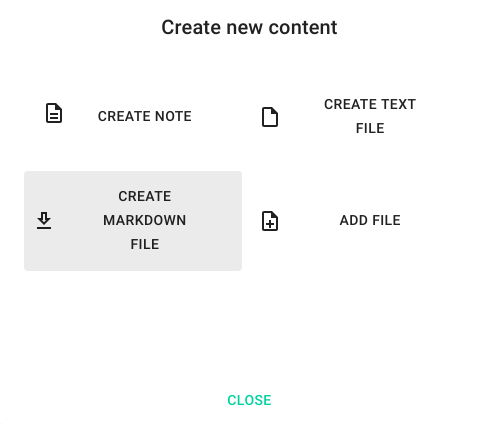 New file creation dialog